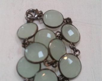 Green Chalcedony Stone Oxidized Bezel Sterling Bracelet