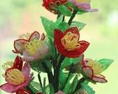 KIT French beaded fantasy wildflowers kit, French beaded flowers: Beginner