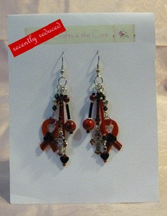 On Sale...  Recently reduced Red and Black, Cross and Crystal Awareness Ribbon Earrings