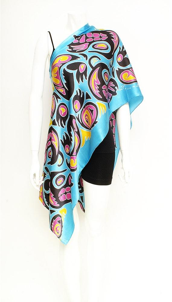 Handpainted silk scarf, Batik scarf, Tribal scarf, Haida design scarf, Hand Painted, Handmade scarf, Turquoise scarf, Beautiful scarf