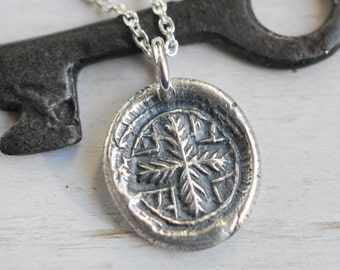 medieval botanical cross wax seal necklace pendant … faith - silver medieval wax seal jewelry