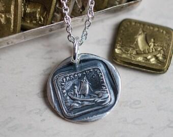 sailboat wax seal necklace … Italian motto - se ti perdo son perduta - if I lose you I am lost - silver antique wax seal jewelry