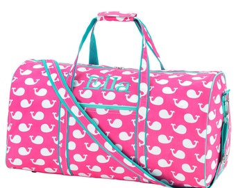 Personalized Duffle Bag Whales, Travel Duffle, Hot Pink Mint, Monogrammed Duffle, Dance Bag