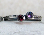 Dual Birthstone Stacking Rings - Set of Two Rings - for Soul Mates, Lovers, Best Friends and Sisters - Choose 2 Birthstones - Personalized