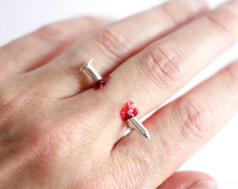 Nail Through Finger Ring, Handmade Sterling Silver, Halloween Ring, Trick Ring, Free Fake Blood, RockCakes, Brighton, uk