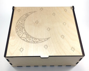 Crescent Moon Essential Oil Box, 42 Slots, Aromatherapy Storage Box, Moon and Stars, Essential Oil Case, Aromatherapy Oil Organizer