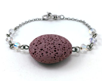 Pink Lava Bracelet, Essential Oil Bracelet, Lava Stone Jewelry, Diffuser Pendant, Aromatherapy Jewelry, Coin Pendant, Swarovski Crystals