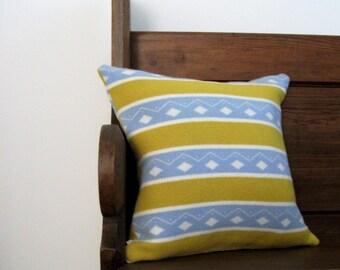 Lambswool Diamond Stripe Pillow / Cushion - Including Insert - yellow, blue, retro