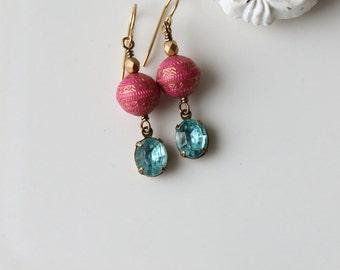 Bohemian Dangle Earrings / Pink and Gold with Vintage Rhinestones in Aqua /Aqua Rhinestone Boho Chic Earrings / Summer Earrings / Bollywood