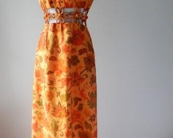 Sale 1960s mod maxi dress- 60s brushed cotton floor length midriff cutout dress