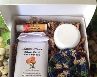 Skin Care Gift Box, Vegan Friendly, Customized, you choose soap, lip balm and body butter