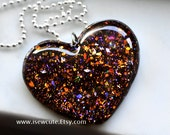 Bespoke Autumn Jewelry, Falling Leaves Autumn Evening Necklace, Handcrafted Resin Jewelry, Glitter Heart Necklace, Glitter Heart by isewcute