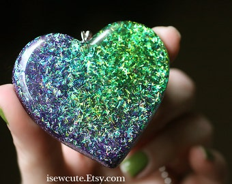 Big Huge Statement Necklace - Resin Pendant, Glitter Heart Necklace Spring Green Amethyst Purple Cute Hand Crafted Resin Jewelry by isewcute
