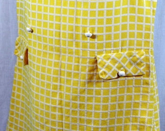 Vintage 60s Yellow and White Gingham Checked Shift Dress with Peter Pan Collar / Size Small 34 bust / by Carib Casuals