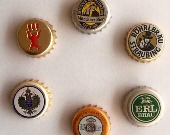 German Beer Bottle Cap Magnets - 6 Pack