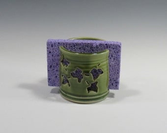Sponge Holder - Kitchen Sponge Dryer - Countertop Accessory and Organization - Emerald Green Sponge Holder - Handmade Pottery