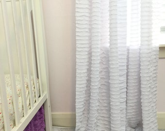 White Ruffle Curtain Panel - 96 Inch Curtain- White Window Treatment- Unique Curtains Window Drape- Girl Nursery Curtain- Extra Wide Curtain