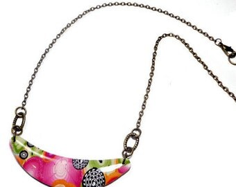 Floral Choker Necklace- polymer clay jewelry- Resin Pendant- Gifts for Her- Abstract Necklace- Ready to Ship