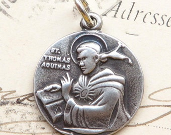 St Thomas Aquinas Medal - Patron of students - Antique Reproduction