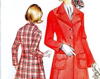 Kwik Sew 356 Basic Dress Top Coat Princess Seam 1970's Retro Size 12 14 16 Uncut Vintage Sewing Pattern 1972