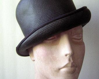 Vintage Bowler Hat 60s Black Straw by Anne Marie - Clockwork Orange High Fashion Goth