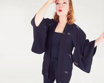Vintage Black Silk and Metallic Haori Jacket - Easy Fit