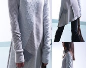 My zen - deconstructed layered knit tunic dress / asymmetrical boho tunic / cotton rib tunic dress / minimalism tunic sweater dress (Y1721)