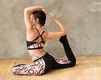 Sale! KARMA SPORTS BRA - Organic Yoga top Hippie Faery Fairy Pixie Boho Burning man Sport Athletic Goa - Pink Black tiger