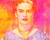 Frida Kahlo Instant Digital Download Poster Art Print Painting Mixed Media Collage Pink Red Orange Purple Yellow Oil Acrylic All Sizes