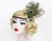 Brown Flapper Headband, Swarovski Crystal, Bridesmaid Hair Accessory, Great Gatsby Headpiece, Peacock Feather Fascinator