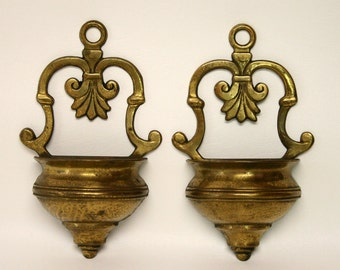 Pair of Vintage Brass Wall Pockets