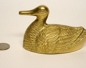 ON SALE - Detailed Brass Duck Figurine