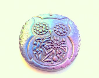 Owl Extra Large Handmade Polymer Clay Ornament or Pendant