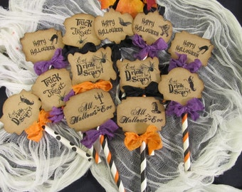 Halloween Deluxe Cupcake Toppers - Set of 12 READY TO SHIP as shown - Happy Halloween Trick or Treat Eat Drink Be Scary