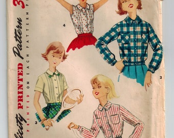 Vintage 50's Girl's Blouse and Overblouse Sewing Pattern Size 8 Breast 26 Front Button Long/Short/Sleeveless Summer Tops Shirts Front Tucks