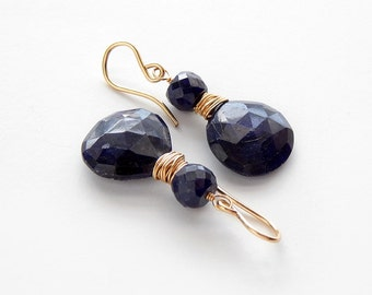 Sapphire Earrings: Goldfill, rose cut sapphire briolette, flat heart briolette, dangle earrings, navy blue and gold, natural sapphire
