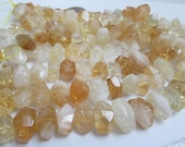 Citrine Beads, Chunky Citrine Beads, Yellow White Citrine, Center Drill Nuggets, Semi Faceted Nuggets, 14-19mm, Qty 9 - gm457