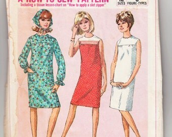 """1960's Vintage Sewing Pattern Ladies' A-Line Dress Simplicity 6371 34"""" Bust - Free Pattern Grading E-book Included"""