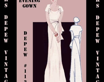 Vintage Sewing Pattern 1930's Evening Gown in Any Size Depew 1121- PLUS Size Included -INSTANT DOWNLOAD-