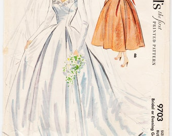 "ORIGINAL Rare Vintage Sewing Pattern 1950's Ladies Wedding Gown McCall's 9703 Size 30"" Bust - Free Pattern Grading E-book Included"