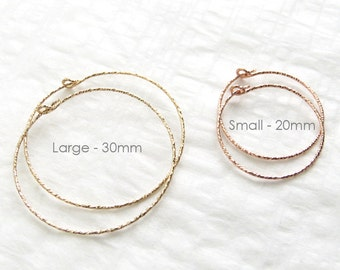Sparkle Hoop Earrings in Sterling silver Gold fill or Rose Gold fill Simple Modern Earrings Lightweight Hoops