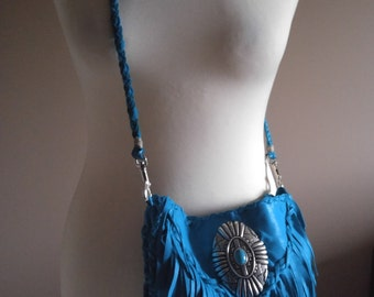 Turquoise Colored Elk Skin Leather Fringe Crossbody Bag with Silver Concho