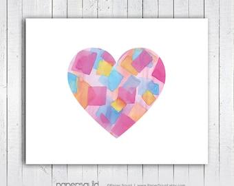 Heart Nursery Art Print, 11 x 14 Love Heart print, Heart wall art print, Nursery Print, Kids Room, Instant Download, Digital File - 183