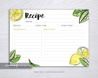 Lemon Recipe Card, Lemon fruit Recipe Card, Tropical recipe card, Digital Recipe Card, 5x7 inches, Printable File Instant download - #191