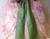 Vintage Half Apron Pink and Green Floral Kitchen Linens Retro Mod Apron Flower Power 1960's 1970's Vintage Linens
