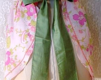 Vintage Half Apron Pink and Green Floral  Kitchen Linens Retro Mod Flower Power 1960's 1970's