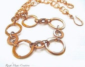 Large Copper Chain Necklace, Adjustable Choker, Rustic Primitive Metalwork Necklace, Edgy Minimalist Jewelry