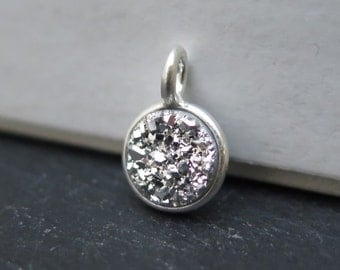 Sterling Silver Grey Druzy Round Charm 12mm (CG8216)