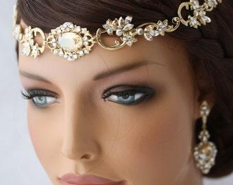 Wedding Hair Accessory Gold Forehead Band Vintage Headband Swarovski Rhinestone Halo Headpiece RYAN Golden Shadow Champagne Crystal