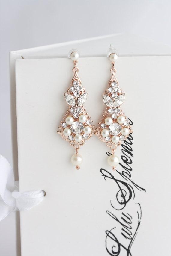 Rose Gold Bridal Earrings Chandelier Earrings Vintage Wedding